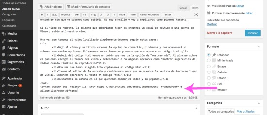 introducir el código del video